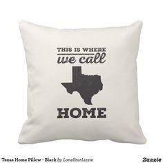 Texas Home Pillow - Black