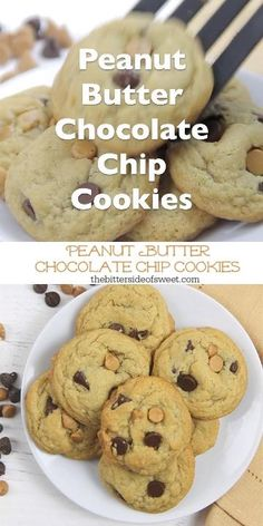 Soft and chewy Peanut Butter Chocolate Chip Cookies! Made with peanut butter chips these cookies bake up in less than 10 minutes! Chocolate Marshmallow Cookies, Chocolate Chip Shortbread Cookies, Toffee Cookies, Spice Cookies, Yummy Cookies, Cookies Soft, Pudding Cookies, Ginger Cookies, Peanut Butter Chip Cookies