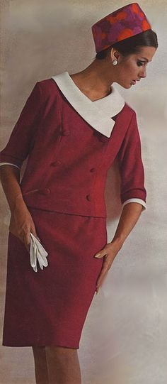 1966 red skirt suit