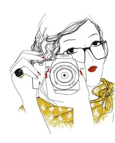 Drawing of Woman with Scarf, Ring, Glasses, Red Lips and Nails Taking a Photograph. #Illustration #Camera #Photography #Photographer #Art