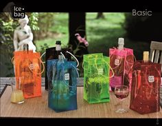 Icebag Wine Holders and Chillers in a rainbow of colours, perfect for the summer cottage, boat or poolside. We have them in all the colours!