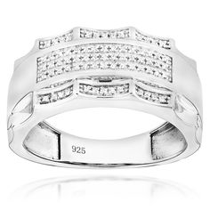 Mens Diamond Ring 0.17ct Gold Plated Sterling Silver