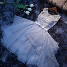 Cute grey A-line lace short prom dress,homecoming dress,party dress - Thumbnail 2