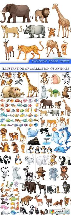 Illustration of collection of animals 11X EPS