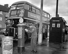A uniformed airman posts a letter in a pillar box close to a police box in the Borough of Harrow London in A traditional London Routemaster bus number 158 is headed for Ruislip Station. London History, British History, Asian History, Tudor History, Richard Branson, Vintage London, Old London, Bus Number, Black Cab