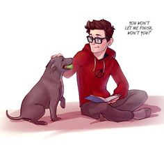 OMG if Peter Parker had Tom Holland's dog Tessa in Spider-Man: Homecoming I'm DEAD this is so cute!!!  By @ribkadory_art