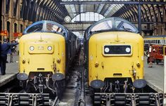 A pair of English Electric's finest seen at the stops at King's Cross on 18th June 1981, both having arrived from York. On the left is 55015 TULYAR, whilst on the right, 55008 THE GREEN HOWARDS.