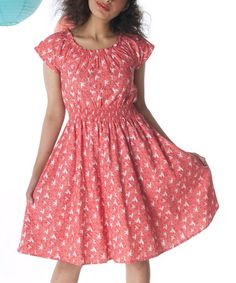 Look what I found on #zulily! Coral Red Twist & Twirl Cap-Sleeve Dress - Women by Mata Traders #zulilyfinds
