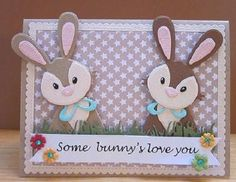Voorbeeldkaart - some bunnie`s love you - Categorie: Stansapparaten - Hobbyjournaal uw hobby website