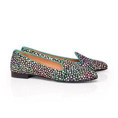 Slippers femme - Cyrano Daim mosaïque pastel