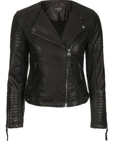 Quilted Faux Leather Biker - Black
