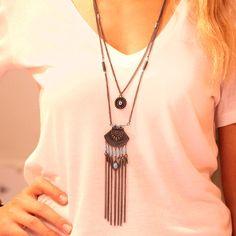 Boho Accessory-Bohemian Tribal Necklace-Gypsy Necklace-Ethnic Necklace-African Necklace-Boho Women-Long Beadwork Statement Necklace Jewelry by Trinketmart on Etsy