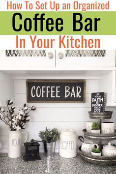 DIY Coffee Bar Ideas – Stunning Farmhouse Style Beverage Stations for Small Spaces and Tiny Kitchens Kitchen Organization and Storage Hacks! Let's learn how to set up an organized kitchen coffee bar. If you have a small kitchen and want a coffee bar area Coffee Bars In Kitchen, Coffee Bar Home, Home Coffee Stations, Beverage Stations, Coffe Bar, Coffee Coffee, Beverage Center, Small Kitchen Storage, Small Space Kitchen