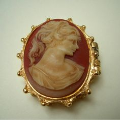 Vintage Cameo Pillbox, Little Trinket or Jewelry Box, Gold Metal, Terracotta & Ivory Colored Bust, Free Shipping. $19.50, via Etsy.