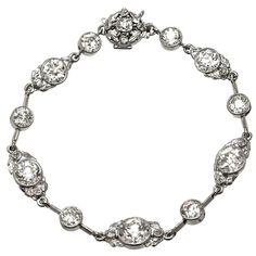 $75,000.  c1890's 14.40 Carat Victorian Old European Cut Diamond Platinum Bracelet | From a unique collection of vintage more bracelets at https://www.1stdibs.com/jewelry/bracelets/more-bracelets/