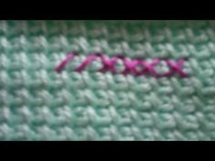 Tutorial demonstrating how to use the cross stitch to decorate an Afghan/Tunisian Crochet panel. SimpleAndSensational.com
