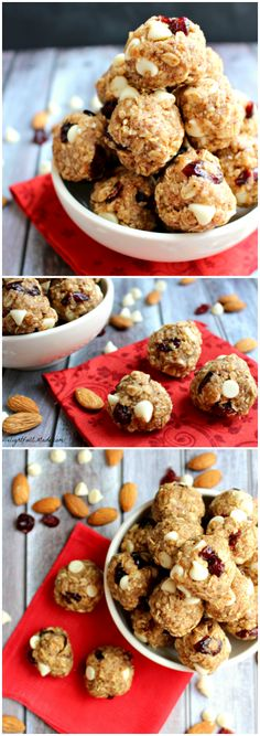 Cranberry Almond Energy Bites by DelightfulEMade.com | The perfect healthy no-bake snack that tastes just like oatmeal cookie dough!