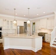 Antique white with white crown molding- option for most houses we are considering building.