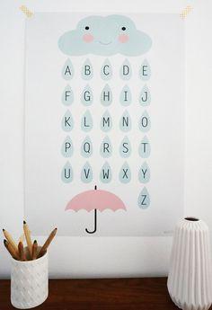 Poster für das Kinderzimmer, Alphabet mit Wolken / cute nursery poster, little clouds with letters by annakernchen via http://DaWanda.com