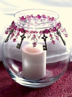 Bead Bottle, Diy Bottle, Bottle Crafts, Beaded Crafts, Wire Crafts, Diy Candles, Candle Jars, Candle Gifts, Candle Decorations