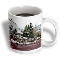 3dRose - Jos Fauxtographee Realistic - Eight Deer Crossing Road In Pine Valley, Utah Near Some Cabins - Mugs