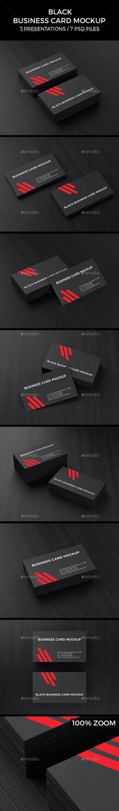 Black Business Card Mockup