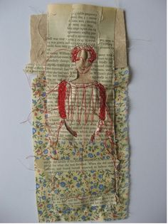 Cathy Cullis is an artist. Her ink is thread and her paper is linen, newsprint, and yellowed novels and the result is beautiful ! Free Motion Embroidery, Embroidery Art, Cross Stitch Embroidery, Sculpture Textile, Little Stitch, Contemporary Embroidery, Thread Painting, Creation Couture, Sewing Art