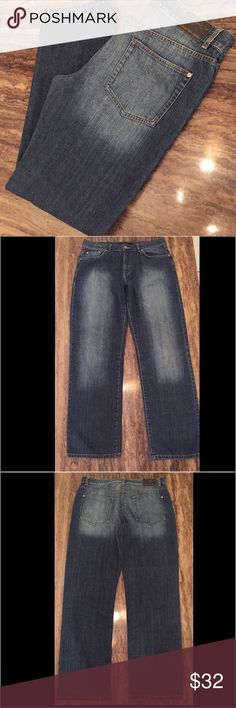 """CALVIN KLEIN JEANS STRAIGHT LEG SIZE 34/32 1/2 This is a super nice pair of Calvin Klein straight leg jeans in a size 34 W and a 32 1/2 """" Length.  The flat waist measures 17 1/2"""", the rise is 11 3/4.  They are a stylish factory front and back fade on a medium blue.  Super soft jeans in a light weight . 98% cotton and 2 % poly blend.  Don't miss these super sexy men's jeans.  See my other listings.  See photos for more condition details.  Thanks for looking.  No trades! Questions please ask…"""