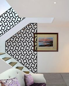 Decorative laser cut screens and laser cut panels. Bespoke laser cut metal fretwork designs made in the UK. - Home Decor Daily Metal Wall Panel, Interior Decorating, Metal Panels, Railing Design, Decorative Screens, Staircase Design, Decorative Panels, Stair Railing Design, Furniture Design