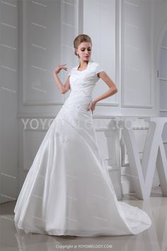 Lace Scoop/Square Sweep-Brush Train A-Line Wedding Dress WD0100816