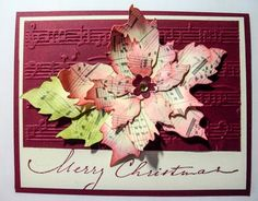 Priss' Pixels & Paper Projects: Tattered Musical Poinsettia... Beautiful card with instructions.