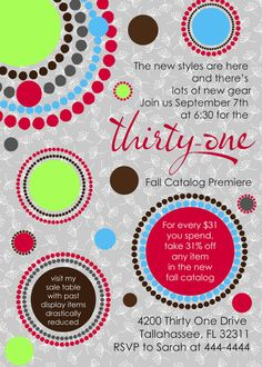 Perfect for your next Thirty-One party Customized Invitations designed for ThirtyOne by marcylauren, $20.00