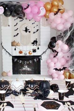 Don't miss this fantastic spook Tacular pink and black Halloween party! The table settings are fantastic! See more party ideas and share yours at CatchMyParty.com