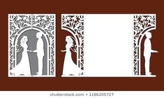 Laser cut template of wedding invitation card with bride and groom. Gate fold with openwork vector silhouette. Envelope for greeting postcard with lace decor arch. Panel with decorative design pattern Wedding Shower Cards, Wedding Invitation Cards, Wedding Cards, Cajas Silhouette Cameo, Wedding Gate, Cardboard Box Crafts, Pop Up Art, Origami And Kirigami, Laser Art