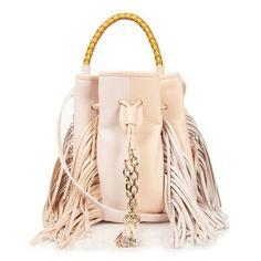Sara Battaglia Fringed bucket bag ($999) ❤ liked on Polyvore featuring bags, handbags, light pink, light pink purse, man bag, handbags & purses, leather handbags and leather fringe handbag