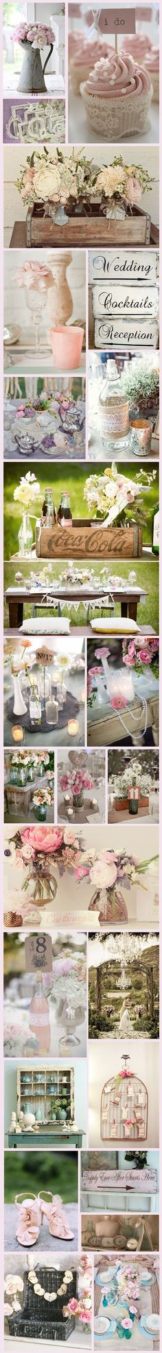 So many inspiring ideas for a shabby chic wedding@  Pinned by Afloral.com from http://www.bespoke-bride.com/2012/06/27/wednesday-wedding-inspiration-we-%E2%99%A5-shabby-chic/ ~Find silk flowers and decorations to DIY your rustic vintage wedding.