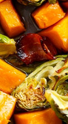 Honey Roasted Butternut Squash & Brussels Sprouts With Bacon