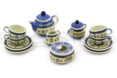 Polish Pottery House Stoneware | Polish Pottery Miniature Tea Set 563