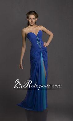 Robe De Soiree Longue Bleue RPV0005