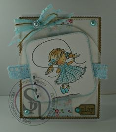 Designed by Gaynor Greaves - Lili of the valley Skipping stamp - coloured with Spectrum Aqua's  Peach - Topaz - Aquamarine - Desert - Charcoal #spectrumnoir #lotv #summer