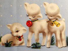 Adorable Lambs Vintage Christmas Card