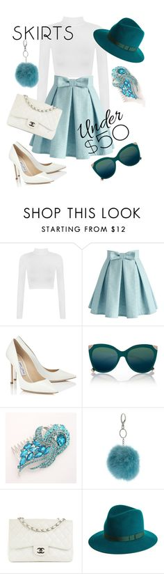 """""""Skirts under 50"""" by stylebycharlene on Polyvore featuring WearAll, Chicwish, Jimmy Choo, River Island, Miss Selfridge, Chanel, rag & bone, outfit, under50 and skirtunder50"""