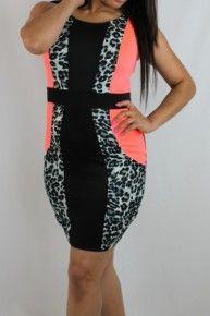 Leopard Bodycon Dress. Kocosky Neon dress, black print dress