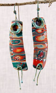 """Segmented"" earrings - Polymer clay by Stories They Tell, via Flickr"