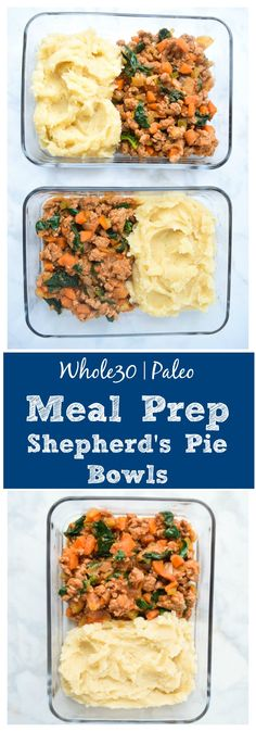 Meal Prep Shepherd's Pie Bowls (Whole30 Paleo) - prep these tasty Shepherd's Pies Bowls ahead for a week's worth of lunches. Easy, Whole30 approved, and the perfect grab-and-go meal! | tastythin.com