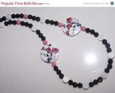 ON SALE Black Onyx Floral Shell Necklace by EriniJewel on Etsy, $20.00