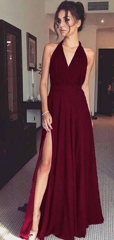 Halter Long A-line Side Slit Dark Red Prom Dresses 70bf1988440f
