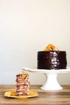 Chocolate Chip Grand Marnier Cake with Goat Cheese Buttercream via Probably Baking