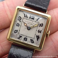 Wow! A 1920's era Tiffany & Co. square-shaped timepiece with an original, patinated dial with faded, luminous Arabic numerals, an 18K yellow gold case, and a 15-jewel, Haas Neveux & Co. movement. This example also comes equipped with a Tiffany & Co....  #tiffany #simple #timeonly #original #patinated #silver #dial #gold #vintage #watch #classic #timepieces #wristwatch #cool #watches #stawc #wristwatches