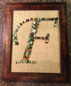 Framed Button Letter F by upcyclingwithstyle on Etsy